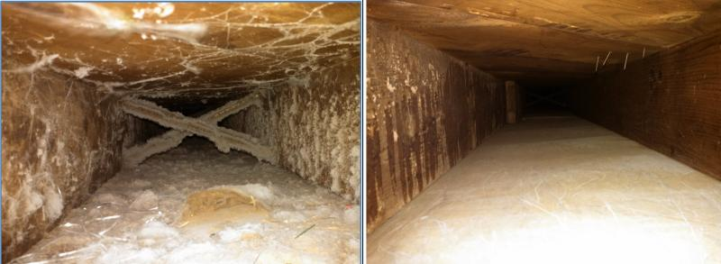 Before & after Captain Clean Air Duct cleaning service